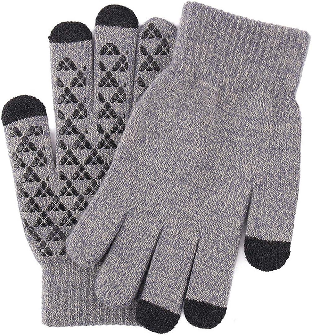 Touch Screen Knitted Gloves Men Women Thicken Wool Mitten Outdoors Anti-Slip Warmer Couple Gloves Men Grey