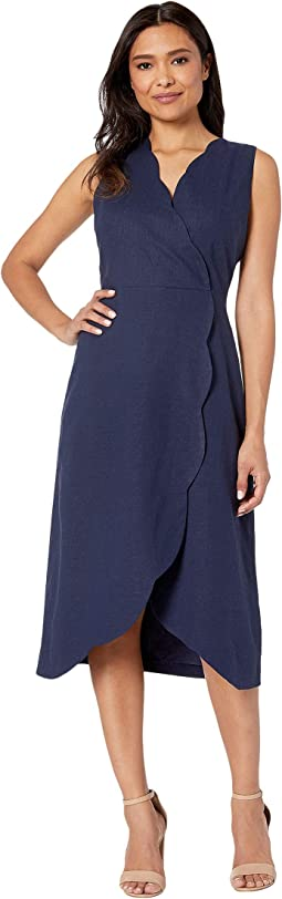Solid Linen Cotton Fit and Flare with Scallop Detail