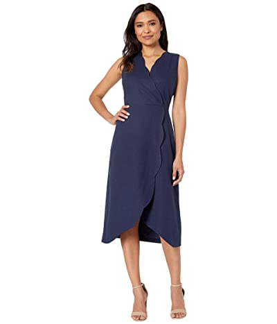 Maggy London Solid Linen Cotton Fit and Flare with Scallop Detail (Navy) Women
