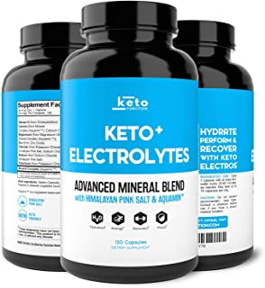 Keto Electrolyte Supplement - Electrolytes and Trace Minerals for Low-Carb Keto - Leg Cramp Relief, Hydration, Energy, Ketosis - Sodium, Potassium, Magnesium, Calcium - Keto Friendly Pills 120ct