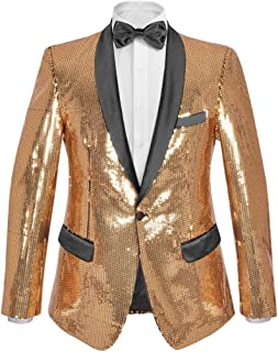 Tidyard Men's Sequin Dinner Jacket Tuxedo Party Blazer Shiny Sequins Gold Size 46