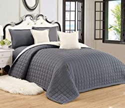 Compressed Two-Sided Color 4 Piece Comforter Set, Twin-Single Size, Gr-Be, Mixed Material