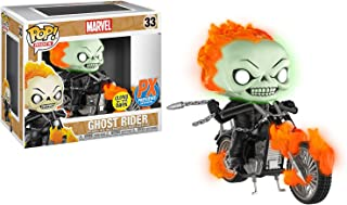 Ghost Rider w/ Bike [Glow-in-Dark] (PX Exclusive): POP! Marvel x Marvel Universe Vinyl Figure + 1 Official Marvel Trading Card Bundle