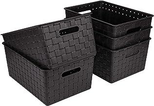 Bekith 5 Pack Woven Plastic Storage Basket, Woven Basket Bin, Black