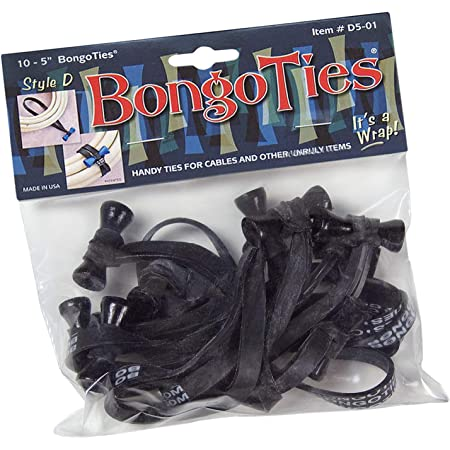 """BongoTies ALL-BLACK """"Obsidian"""" Bongo Ties ~ 10 Pack """"Style-D"""" ~ HANDY TIES FOR CABLES AND OTHER UNRULY ITEMS"""
