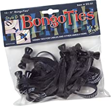 BongoTies ALL-BLACK Obsidian Bongo Ties ~ 10 Pack Style-D ~ HANDY TIES FOR CABLES AND OTHER UNRULY ITEMS
