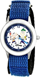 Disney Kids' W000376 Phineas and Ferb Stainless Steel Time Teacher Blue Nylon Strap Watch