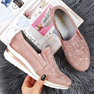 Female Large Size Sneakers 2020 Casual Women's Rhinestones Breathsble Ladies Flats Vulcanized Shoes Moccasins Shoes Loafers Comfort Woman Shoes,Pink,42