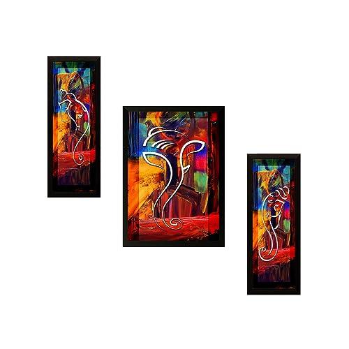 SAF UV Textured Ganesh Modern Art Print Framed Painting Set Of 3 For Home Decoration