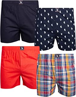 U.S. Polo Assn. Men's Woven Boxer Underwear with Functional Fly (4 Pack)