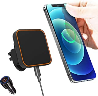 Magnetic Wireless Car Charger,Mag-Safe Wireless Car Holder for 12/11/11 Pro/XS/XR/X, & All Qi Enabled Phone, 15W Max Fast Charging Air Vent Mount