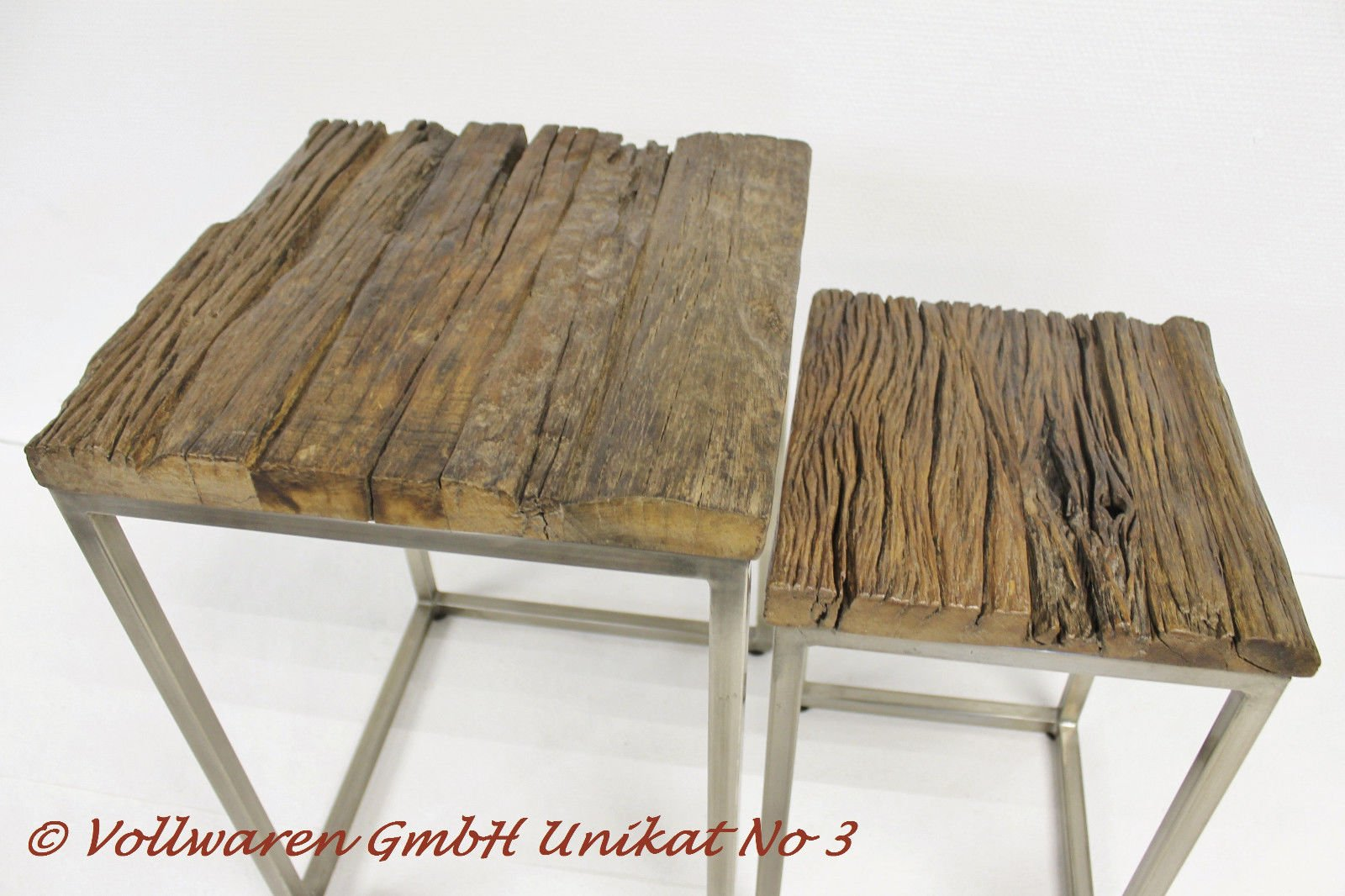 Teca Dos Juego de Mesa Madera de Teca Maciza Antiguo Juego de Mesa Mesa Auxiliar (, Unikat No3, 60 x 40 x 40 cm/50 x 30 x 30 cm: Amazon.es: Hogar
