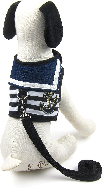 Alfie Pet  Dustin Sailor Harness and Leash Set  color  Black Stripe, Size  Large