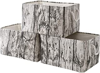 TcaFmac Fabric Storage Basket Set[3-Pack] Closet Storage Bins Decorative Storage Baskets for Shelves Rustic Rectangular Storage Bins with Handles Toy Storage Bins Gift Baskets (Tree Stump)