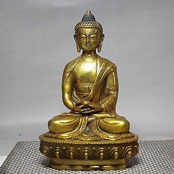 Gpzj 13CM Collectables Bouddhisme Bronze Shakyamuni Sakyamuni Amitabha Bouddha Statue Figurine//Cadeaux//Bureau//Ornement//Artisanat//D/écorations pour La Maison