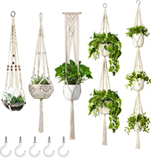 ERCINS - 5 Pack Macrame Plant Hangers - with 5 Hooks - Different Tiers - Handmade Cotton Rope - Hanging Planters Set Flowe...