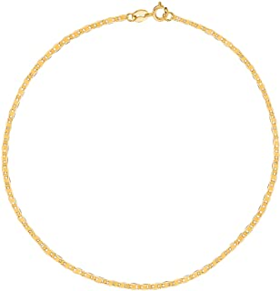 8dd2621fa Ritastephens 10k Solid Yellow Gold Mariner Link Chain (Bracelet, Anklet, or  Necklace)