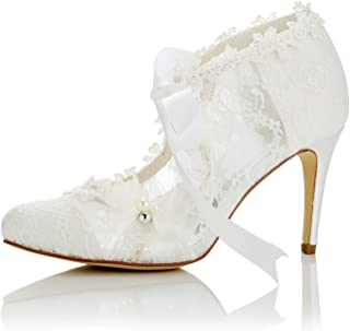 JIA JIA Chaussures de mariée pour Femme 16798 Fermé Toe TRalon Haut Talon Dentelle Satin Pompes Perle Bowknot Ruban Cravat...