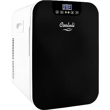 Cooluli 20L Mini Fridge For Bedroom - Car, Office Desk & College Dorm Room - Glass Front & Digital Temperature Control - 12v Small Refrigerator for Food, Drinks, Skincare, Beauty & Breast Milk (Black)