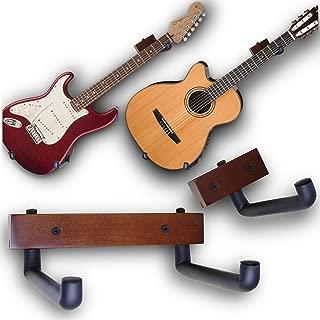 Angled Guitar Hanger Tilt and Display Your Guitar, Ukulele, Bass, Banjo at a Slanted Angle Sideways - Hang for easy access (Dark Stain)