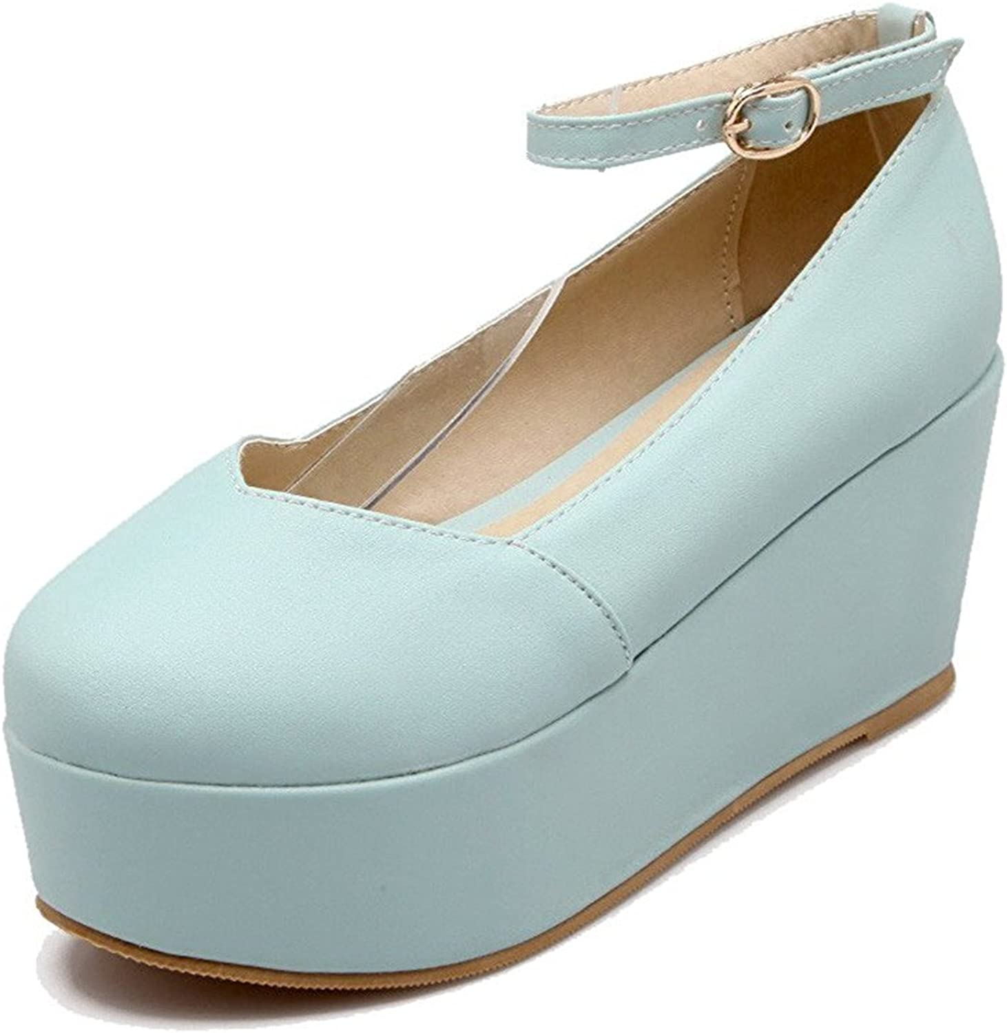 Tirahse Comfortable Women's Buckle Round Closed Toe High Heels Pu Solid Pumps-shoes