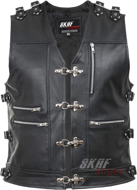 Men's Genuine Cow Leather Heavy Buckled Zipper Rocker Biker Motorcycle Vest Waistcoat XS~7XL