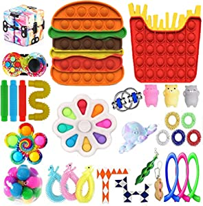30pcs Fidget Packs Anti-Anxiety Tools, Pop-in-It Fidget Block Set Stress Relief Toys for Adults, Cheap Sensory Fidget Toy Pack with Marble Mesh Anxiety Tube Fidgetet Packs (E3)