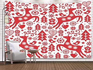 Crannel Christmas Folk red Pattern Scandinavian Art Reindeer Birds Flowers Decoration Wallpaper Tapestry 60x50 Inches Wall Art Tapestries Hanging for Dorm Room Living Home Decorative