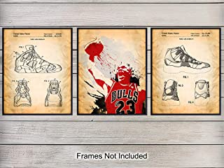 Michael Jordan Basketball Shoes Patent Wall Decor Picture Set - Home Art for Game Room, Teens, Kids or Boys Bedroom, Man Cave, Gym - Gift for Chicago Bulls, NCAA, March Madness Fans, 8x10 Photo Poster