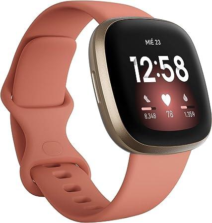 Fitbit Versa 3 - Smartwatch de salud y forma física con GPS integrado, análisis continuo de la frecuencia cardiaca, Alexa integrada y batería de +6 días, Rosa/Dorado