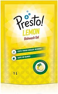Amazon Brand - Presto! Dishwash Gel Refill, Lemon - 1 L