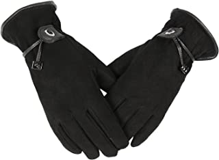 OZERO Leather Womens Gloves Winter Warm for Thermal in Cold Weather Black