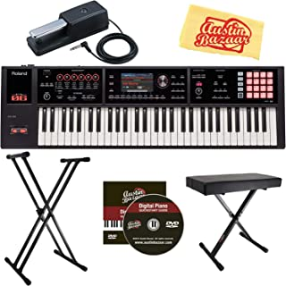 Roland FA-06 61-Note Music Workstation Bundle with Roland DP-10 Damper Pedal, Adjustable Stand, and Austin Bazaar Polishing Cloth