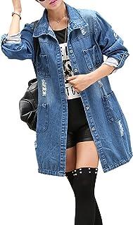 35545f9670 Minetom Femmes Automne Casual Loose Denim Manches Longues Veste Blouson Jean  Bouton Veste Jacket Coat Outwear