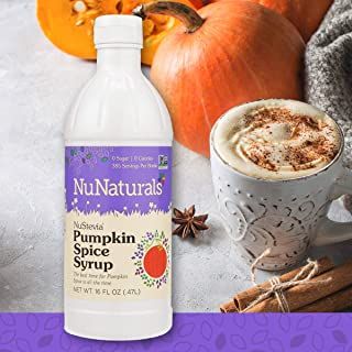 NuNaturals NuStevia Sugar-Free Pumpkin Spice Syrup Natural Stevia Sweetener with 0 Calories, 0 Sugar, 0 Carbs, 385 Servings (16 oz)