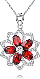 Uloveido 925 Sterling Silver Natural Garnet 2.5CT Red Flower Hollow Necklace Pendant for Women Wedding CN004