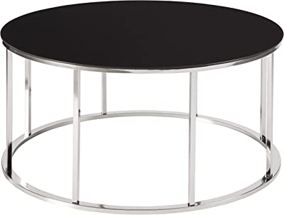 Benjara Round Tempered Glass Top Cocktail Table with Metal Frame, Black and Chrome