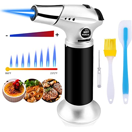 FGJFJ Blow Torch Professional Kitchen Cooking Torch Adjustable Flame Refillable Mini Blow Torch Lighter for Bbq
