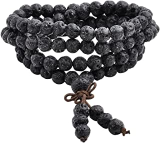 Jovivi 6mm 8mm Natural Lava Rock Stone Healing Gemstone 108 Prayer Beads Tibetan Mala Bracelet Necklace