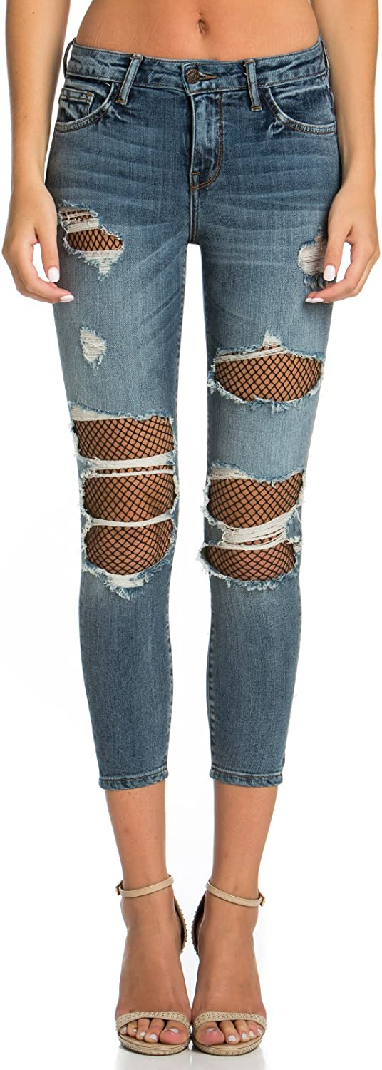 Cello Jeans Fishnet Crop Skinny