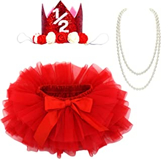 BGFKS Baby Girls Soft Tutu Skirt with Cotton Diaper Cover,1/2st Birthday Party Tutu Skirt Sets (Red)