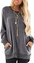 GADEWAKE Womens Casual Color Block Long Sleeve Round Neck Pocket T Shirts Blouses Sweatshirts Tops