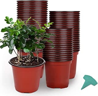 GROWNEER 60 Packs 6 Inches Plastic Plant Nursery Pots with 15 Pcs Plant Labels, Seed Starting Pot Flower Plant Container f...