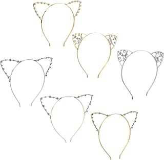 Cat Ears Headband - 6 Pack Rhinestones Pearls Kitty Cosplay Costume Hair Headwear for Theme and Halloween Party in 6 Various Colors and Styles, Silver, Gold