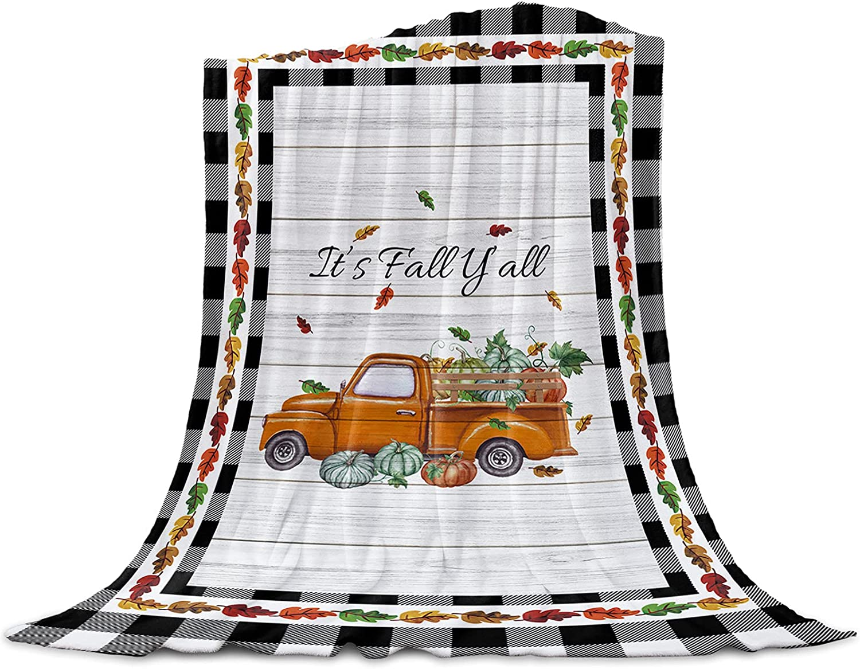 Flannel Fleece Free shipping / New Throw Blanket It's Fall Pumpkin ...