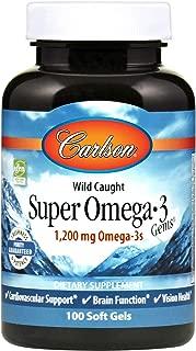 Carlson - Super Omega-3 Gems, 1200 mg Omega-3s, Cardiovascular, Brain & Vision Support, Wild Caught, 100 Soft gels