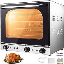 VEVOR Mini Four Electrique Mini-Four Avec Chaleur Tournante 460x370x350mm Four à Pizza Four à Poser 4 Plateaux pour Cuisso...