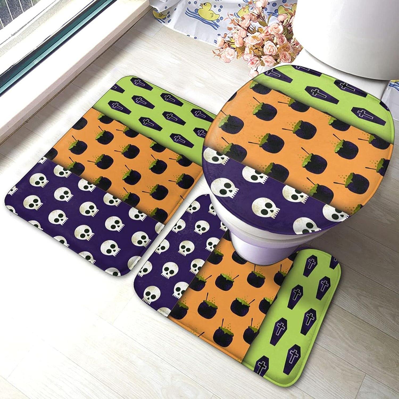 Halloween Bathroom Floor Mat Antiskid Pad Toilet Lid Set Selling Limited time sale Piece 3