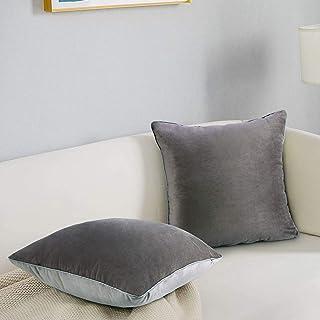Paquete de 2 Fundas de Cojín Decorativas Terciopelo Gris 18x18 Cojines Cuadrados para Cojines de Sofá Fundas de Cojín de Terciopelo Gris de Doble Cara para el Hogar Sala Dormitorio