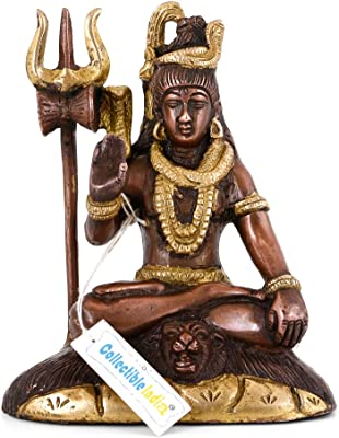 Collectible India Lord Shiva Brass Statue | Hindu God Blessing Shiv Vintage Finish